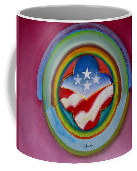Button Coffee Mug featuring the painting Four Star Button by Charles Stuart