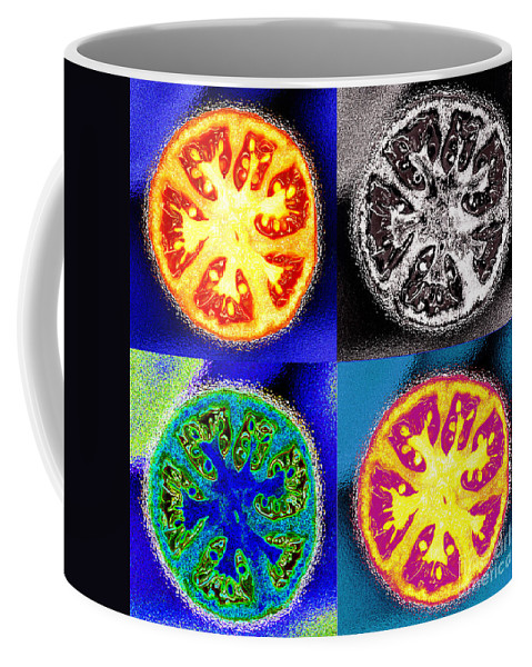 Tomatoes Coffee Mug featuring the photograph Four Tomatoes by Nancy Mueller