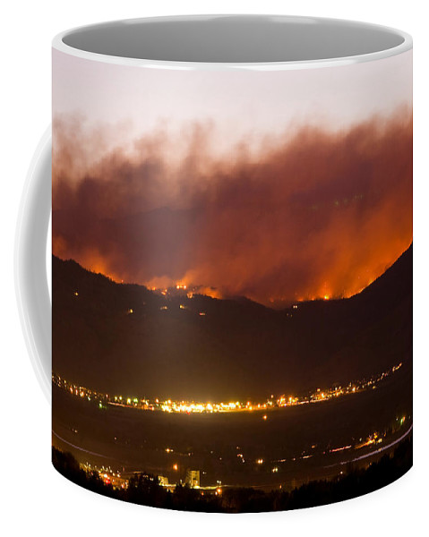 fourmile Canyon Wildfire Coffee Mug featuring the photograph Fourmile Canyon Fire Burning Above North Boulder by James BO Insogna