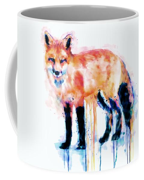 Fox Coffee Mug featuring the painting Fox by Marian Voicu