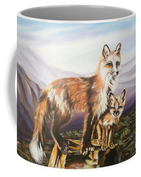 Mother Fox Coffee Mug featuring the painting Foxes  Fundamental Foresight Foundation by Sigrid Tune