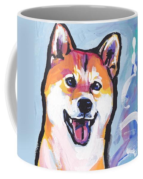 Shiba Inu Coffee Mug featuring the painting Foxy Shiba by Lea S