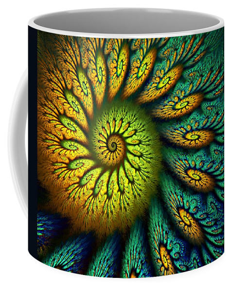 Abstract Coffee Mug featuring the digital art Fractal Abstract 061710 by David Lane
