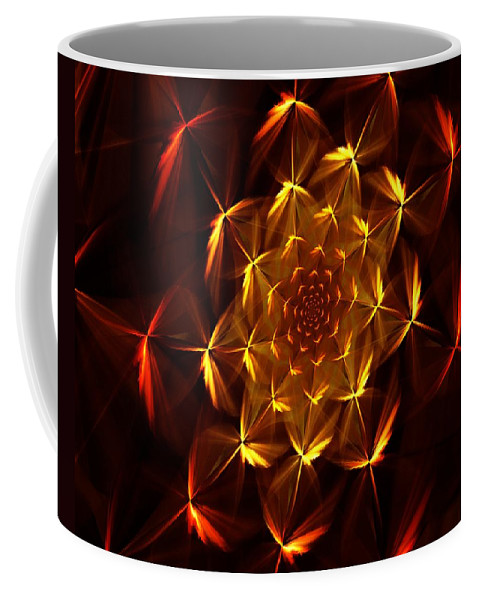 Abstract Coffee Mug featuring the digital art Fractal Floral 062610a by David Lane