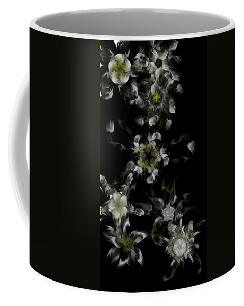 Digital Photograph Coffee Mug featuring the digital art Fractal Floral Pattern Black by David Lane