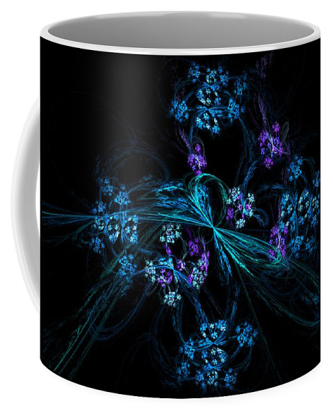 Fantasy Coffee Mug featuring the digital art Fractal Forget Me Not Bouquet by David Lane
