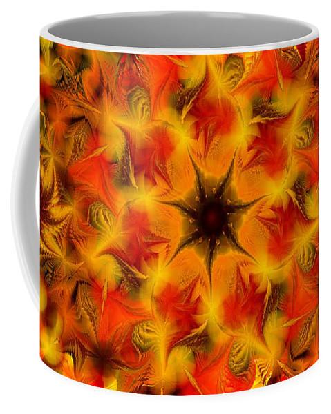 Abstract Digital Painting Coffee Mug featuring the digital art Fractal Garden 6 by David Lane