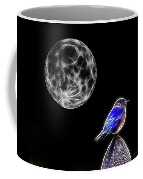 Bluebird Coffee Mug featuring the photograph Fractal Moon And Bluebird by Ericamaxine Price