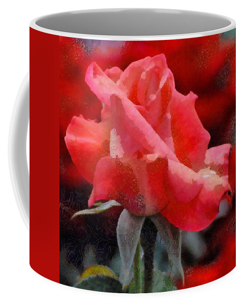 Fragmented Pink Rose Coffee Mug featuring the digital art Fragmented Pink Rose by Catherine Lott