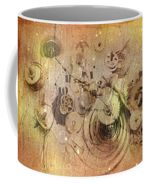 Grunge Coffee Mug featuring the digital art Fragmented Time by Michal Boubin