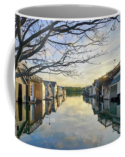 Boathouse Coffee Mug featuring the photograph Framed Boathouses by Joann Long
