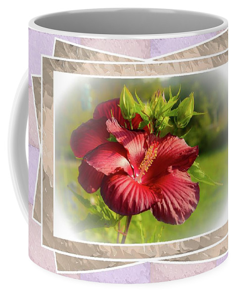Flower Coffee Mug featuring the photograph Framed Red Hibiscus by Sherman Perry