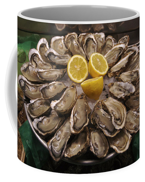 Close-up Coffee Mug featuring the photograph France, Paris Oysters On Display by Keenpress