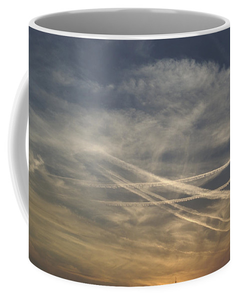 Nobody Coffee Mug featuring the photograph France, Paris, Tail Of Smoke In Sky by Keenpress