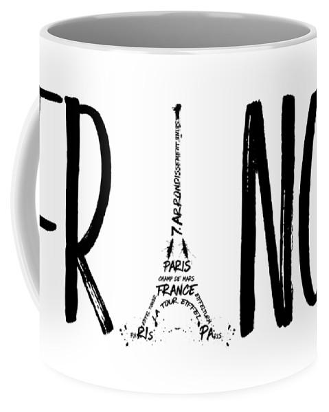 Paris Coffee Mug featuring the digital art France Typography by Melanie Viola