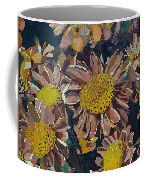 Recycle Coffee Mug featuring the painting Francescas Mums by Leah Tomaino