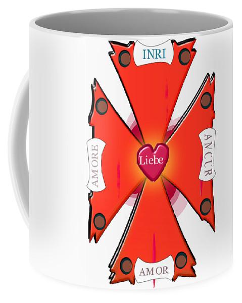 Cross Coffee Mug featuring the digital art Franco-italian Hispanic German Cross by Jon Fennel
