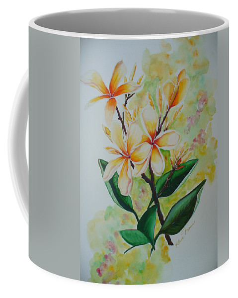 Coffee Mug featuring the painting Frangipangi by Karin Dawn Kelshall- Best