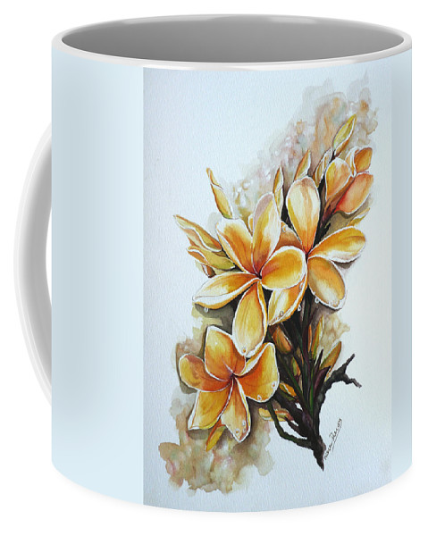 Caribbean Paintings Flower Paintings Floral Paintings  Coffee Mug featuring the painting Frangipangi  Sold by Karin Dawn Kelshall- Best