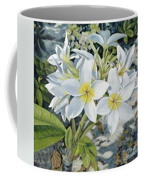 Frangipani Coffee Mug featuring the painting Frangipani by Danielle Perry