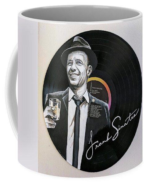 Frank Sinatra Coffee Mug featuring the painting Frank Sinatra Portrait On Lp by Jon Lion