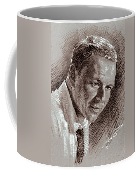 Frank Sinatra Coffee Mug featuring the drawing Frank Sinatra by Ylli Haruni