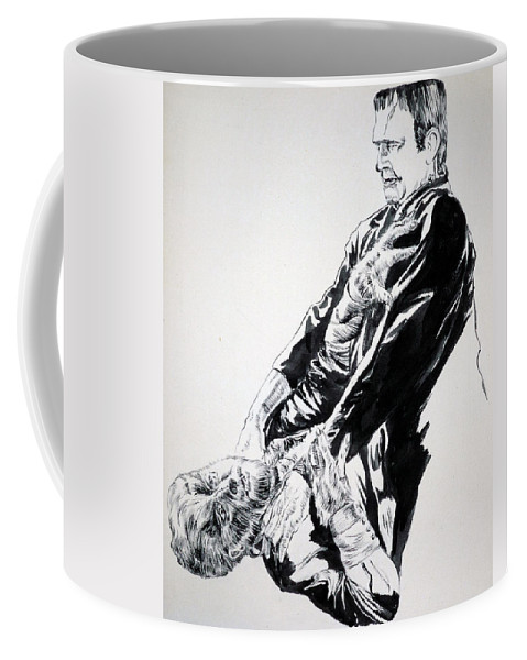 Frankenstein Coffee Mug featuring the painting Frankenstein Vs. The Wolfman by Bryan Bustard