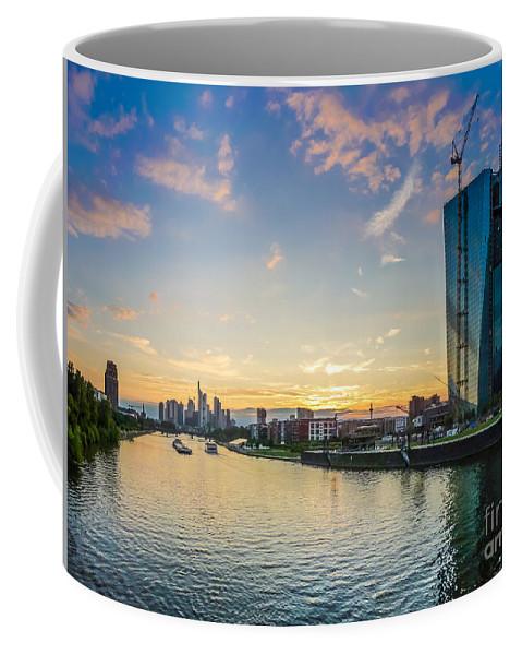 Frankfurt Am Main Coffee Mug featuring the photograph Frankfurt Am Main Skyline At Sunset by JR Photography