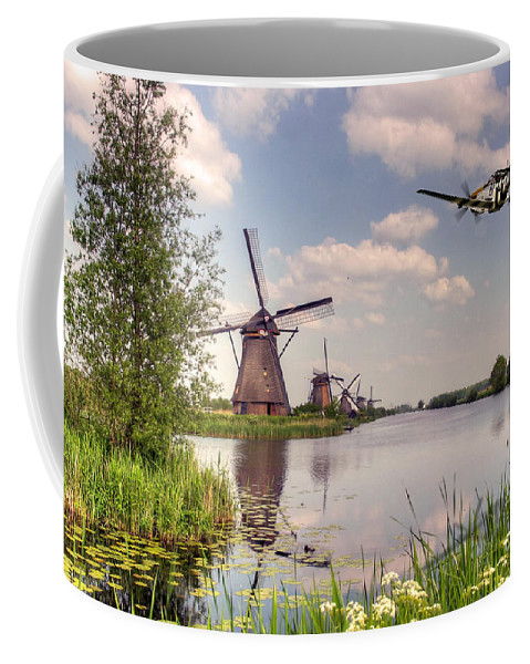 P-51 Coffee Mug featuring the digital art Frankie Over The Mills by J Biggadike