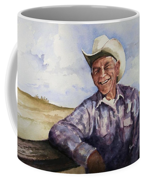 Cowboy Smile Friendly Happy Texan Texas Music Fiddler Coffee Mug featuring the painting Frankie by Sam Sidders