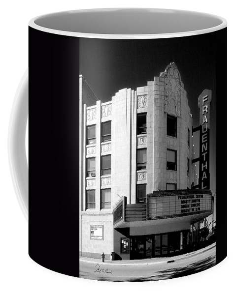 Black And White Coffee Mug featuring the photograph Frauenthal Theater Circa 2005 by Frederic A Reinecke