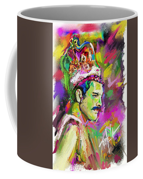 Queen Coffee Mug featuring the painting Freddie Mercury, Bohemian Rhapsody by Mark Tonelli
