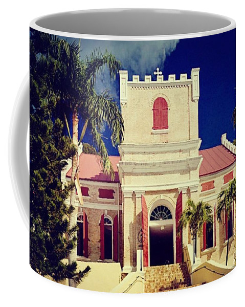 Tourist Attractions Coffee Mug featuring the photograph Frederick Lutheran Church In St. Thomas by Peter Parker