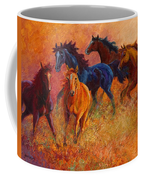 Horses Coffee Mug featuring the painting Free Range - Wild Horses by Marion Rose
