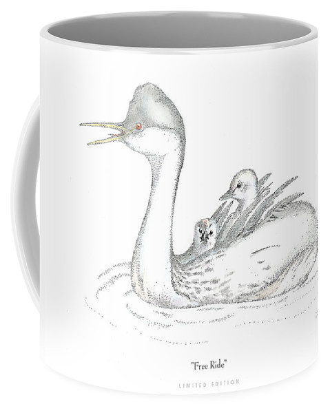 Grebe Coffee Mug featuring the drawing Free Ride by David Weaver