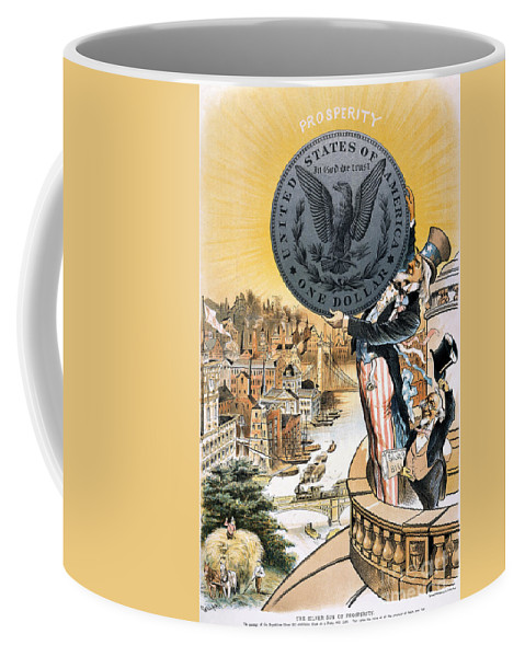 1890 Coffee Mug featuring the photograph Free Silver Cartoon, 1890 by Granger