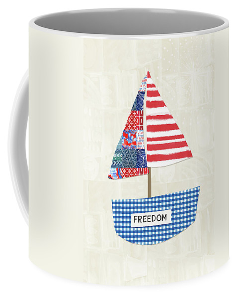 Red Coffee Mug featuring the mixed media Freedom Boat- Art By Linda Woods by Linda Woods
