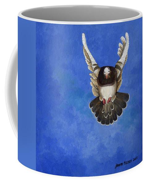 Pigeon Coffee Mug featuring the painting Freedom by Brigitte Meskey