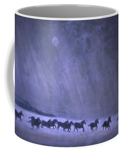 Horse Coffee Mug featuring the painting Freedom by Jarmo Korhonen aka Jarko