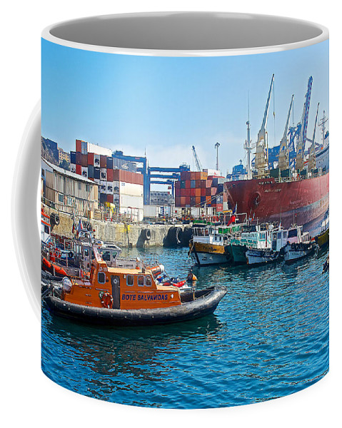 Freighter And Shipping Containers In Port Of Valparaiso Coffee Mug featuring the photograph Freighter And Shipping Containers In Port Of Valpaparaiso-chile by Ruth Hager