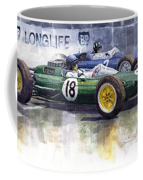 Watercolour Coffee Mug featuring the painting French Gp 1963 Start Lotus Vs Brm by Yuriy Shevchuk