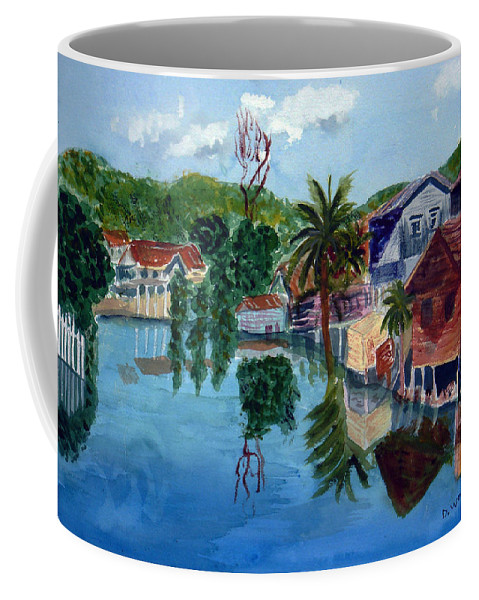 French Harbo Coffee Mug featuring the painting French Harbor Isla De Roatan by Donna Walsh