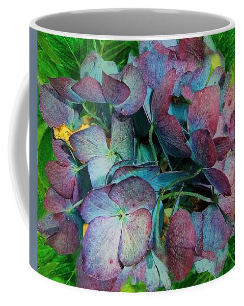 Hydrangea Coffee Mug featuring the painting French Hydrangea Rainbow by RC DeWinter