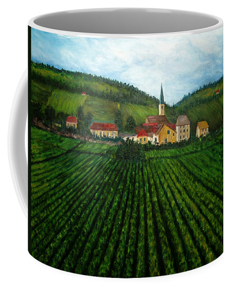 Acrylic Coffee Mug featuring the painting French Village In The Vineyards by Nancy Mueller