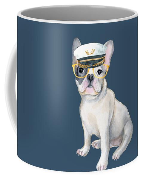 Dog Coffee Mug featuring the digital art Frenchie French Bulldog Yellow Glasses Captains Hat Dogs In Clothes by Trisha Vroom
