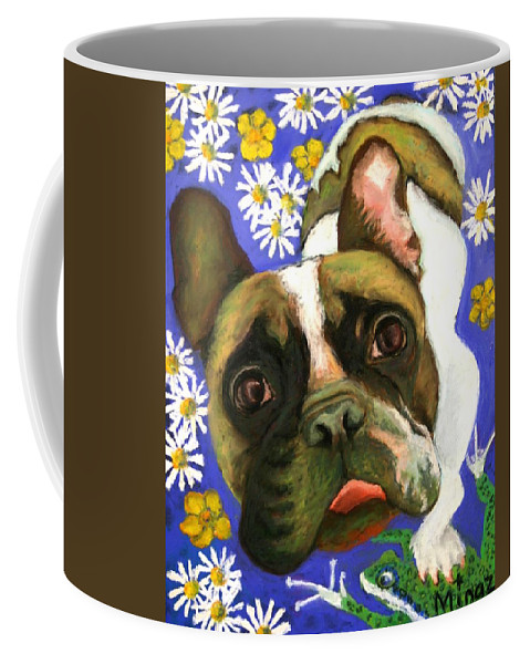 Pet Portrait Coffee Mug featuring the painting Frenchie Plays With Frogs by Minaz Jantz