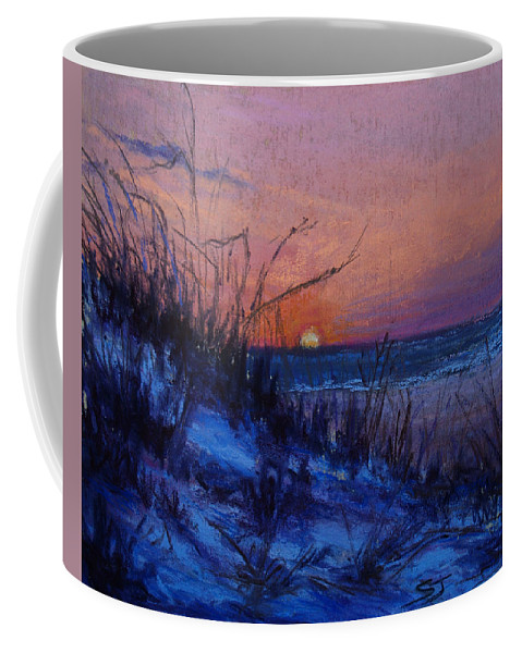 Landscape Coffee Mug featuring the pastel Frenchy's Sunset by Susan Jenkins