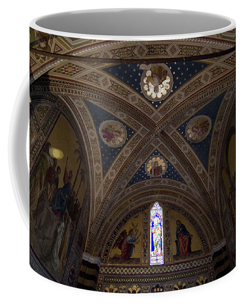 Photography Coffee Mug featuring the photograph Frescoes Inside The Church At Brolio by Todd Gipstein