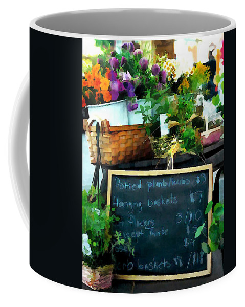Market Coffee Mug featuring the painting Fresh At The Farmer's Market by Elaine Plesser