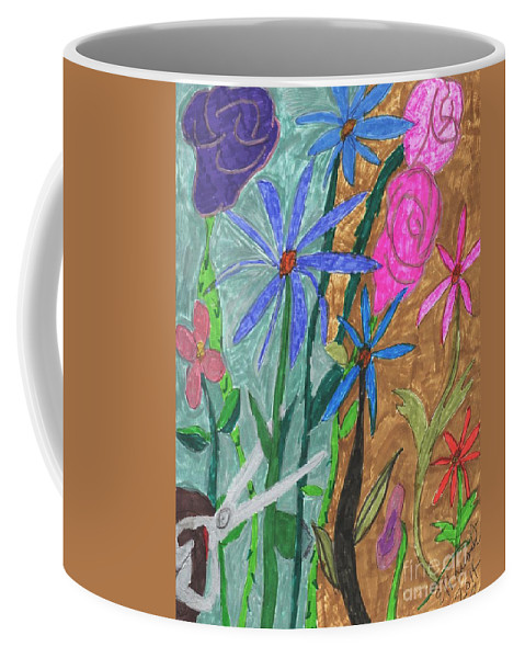 Flowers Being Cut With A Scissors Coffee Mug featuring the mixed media Fresh Cut Flowers by Elinor Helen Rakowski